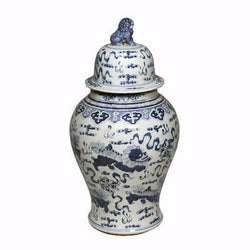 "Blue & White Large Porcelain Foo Dog Motif Temple Jar Ginger Jar 24"" Foo Dog Top"