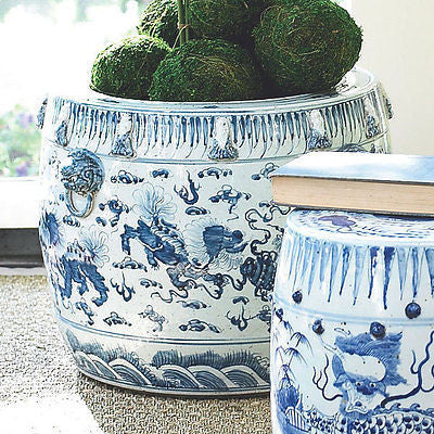 "Beautiful Blue and White Lion Motif Round Planter 16""H"