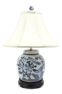 Beautiful Blue and White Porcelain Flat Top Ginger Jar Table Lamp Bird Motif 24""