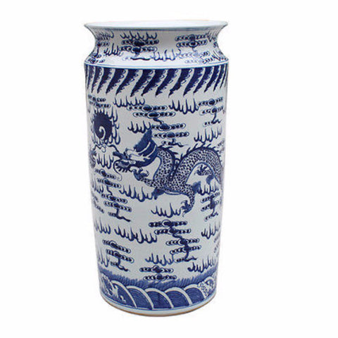 Beautiful Blue and White Porcelain Umbrella Stand Dragon and Fireball Motif 23""