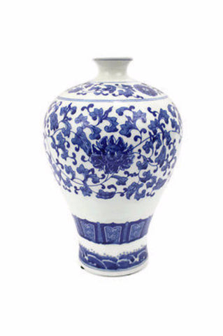 Blue and White Lotus Chinoiserie Porcelain Vase Gourd Floral Pattern 11""