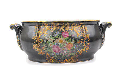 Black and Gold Chinoiserie Floral Pattern Porcelain Oval Basin Pot