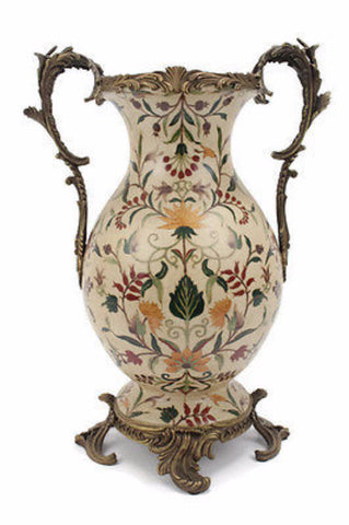 Elegant French Chinoiserie Porcelain Vase with Brass Ormolu Accents 17.5""