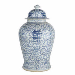"Blue & White Porcelain Double Happiness Chinoiserie Temple Jar 19.5"" Tall"
