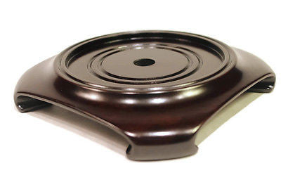 "Beautiful Dark Brown Gloss Square Chinese Wooden Stand for Vases 3 3/4"" Diameter"