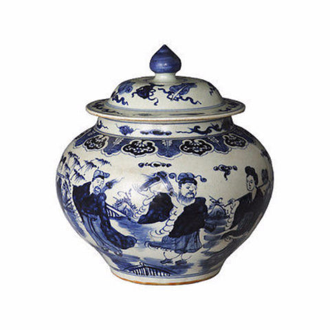 "Beautiful Blue and White Porcelain Ginger Jar 8 Immortals Motif 16"" with Lid"