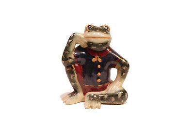 Cute Oriental Frog Porcelain Figurine Sitting In Suit 3.5""