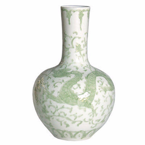 Beautiful Green and White Porcelain Medallion Plum Shaped Vase Dragon Lotus 19""