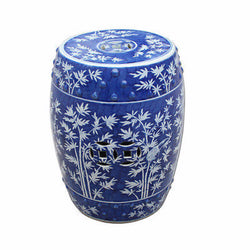 Beautiful Vintage Style Blue and White Porcelain Garden Stool Bamboo Magpie