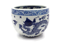 "Vintage Style Blue and White Porcelain Bowl Dragon Motif 8"" Tall"