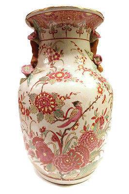 Beautiful Famille Rose Bird and Flower Scene Chinese Porcelain Vase 12""