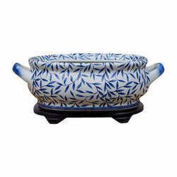 Unique Blue & White Porcelain Foot Bath Basin Chinese Bamboo Leaf