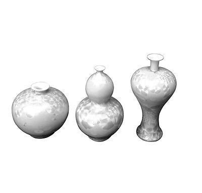 Beautiful Set of 3 Contemporary White Crystal Shell Porcelain Vases