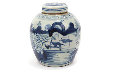 Antiqued Style Blue and White Porcelain Landscape Fishing Cover Jar 6""