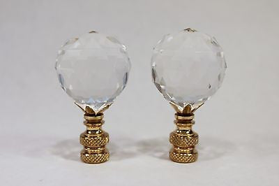 Pair of Unique Crystal Ball Lamp Finial