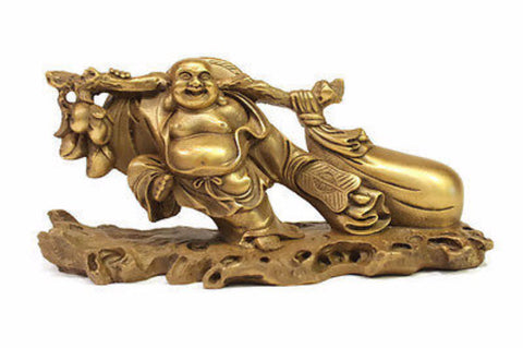 Unique Small Bronze Fishing Buddha Lucky Buddah with bag