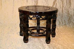 "Beautiful Dark Brown Glossy Wooden Platform Round Stand with Carving 7"" to 9"""