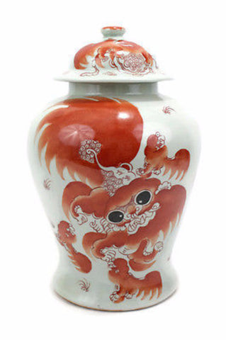 Vintage Style Orange And White Porcelain Temple Jar Foo Dog Motif 16.5""