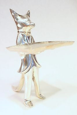 Cute Aluminum Base Silver Plated Card Holder Fox Figurine From India 6.5""
