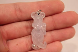Beautiful Grade A Natural Transparent Colored Jade Mickey Character Pendant