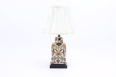 Beautiful French Chinoiserie Porcelain Tea Caddy Tabble Lamp w Clip on Shade