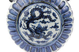 Beautiful Chinese Vintage Style Blue and White Porcelain Dragon Motif Moon Vase