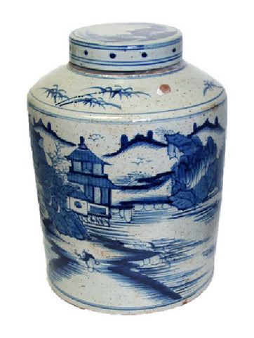 Vintage Style Blue and White Blue Willow Porcelain Tea Caddy Jar 16""