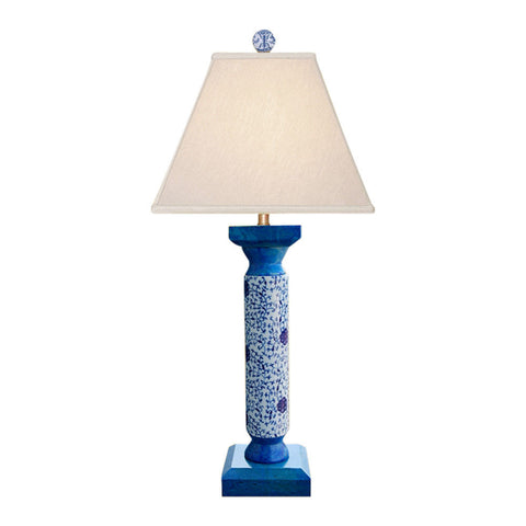 Blue and White Porcelain Floral Turqoise Pedestal Table Lamp 29""