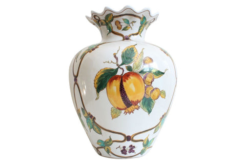 Beautiful White Porcelain Round Vase with Peach Floral Pattern 11""
