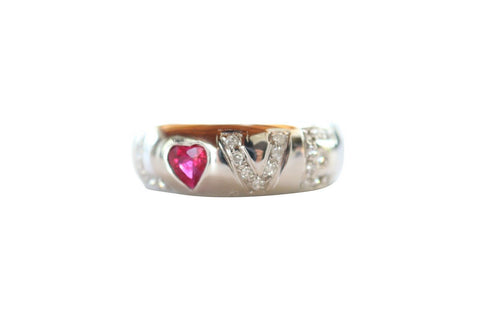 Size 7 LOVE Ruby and Diamond Studded 18K White Gold Ring .5ct Ruby