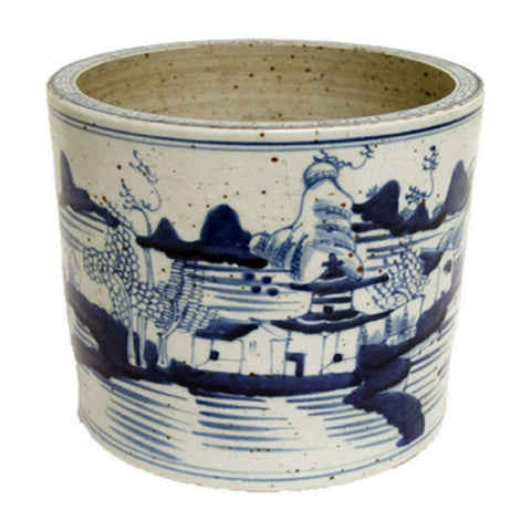 Blue and White Porcelain Landscape Motif Flower Pot 8""
