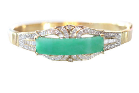 Imperial Jade Jadeite Grade A Untreated 18K Gold Bracelet 1.18ct Diamonds