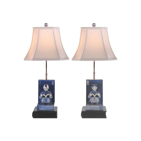 Set of Blue and White Boy and Girl Bookend Porcelain Table Lamp 24""