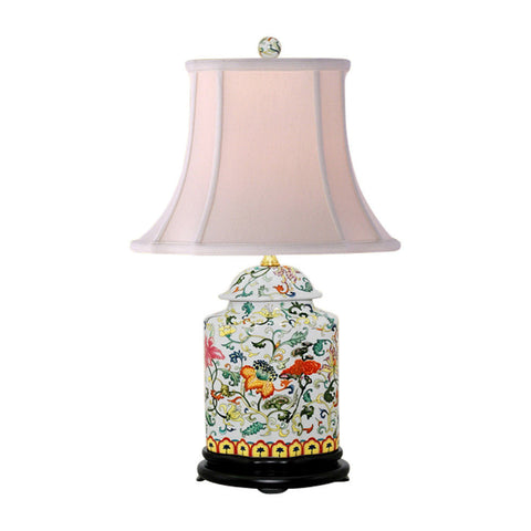 Oriental Chinese Porcelain Floral Scallop Ginger Jar Table Lamp 22""