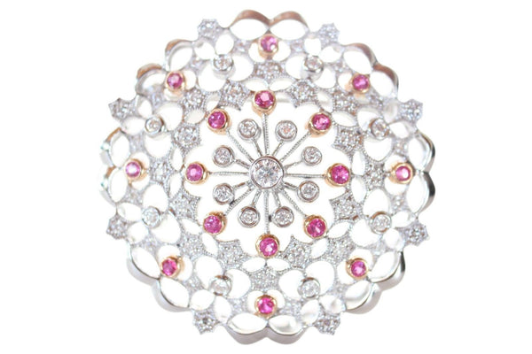18K Gold Diamond and Pink Sapphire Studded Round Brooch Pin .68ct dia .45ct pin