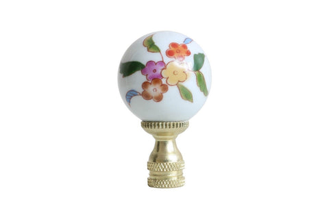 Beautiful Multicolor Floral Porcelain Ball Table Lamp Finial