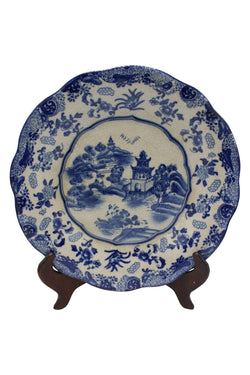 "Beautiful Blue and White Blue Willow Pattern Round Porcelain Plate 12"" Diameter"