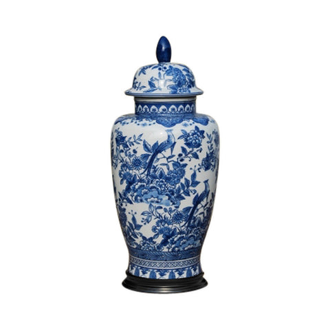 Beautiful Blue and White Floral and Bird Motif Porcelain Temple Jar w Base 16""