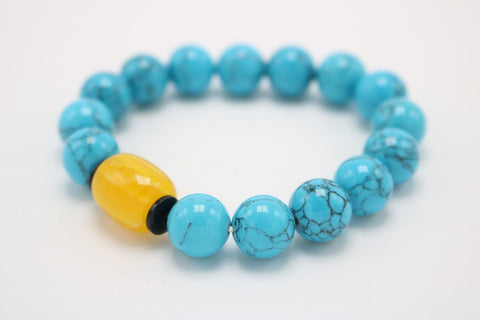 Beautiful Turqoise Stone Beaded Bracelet with Yellow Jade Stone