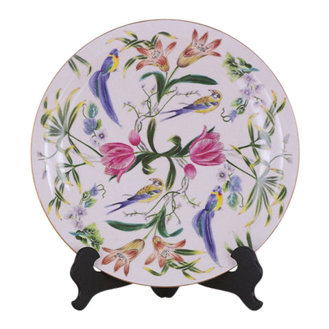 Beautiful Mutli-Color Bird and Floral Motif Porcelain Plate 16""