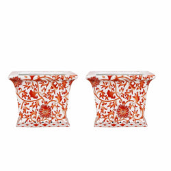 Beautiful Pair Orange and White Twisted Lotus Square Porcelain Flower Pot 6""