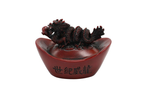 Chinese Red Resin Novelty Dragon On Coin Gift Item 2""