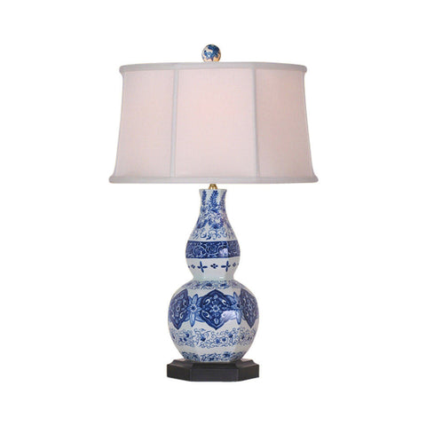 Beautiful Blue and White Floral Motif Porcelain Gourd Vase Table Lamp 25""