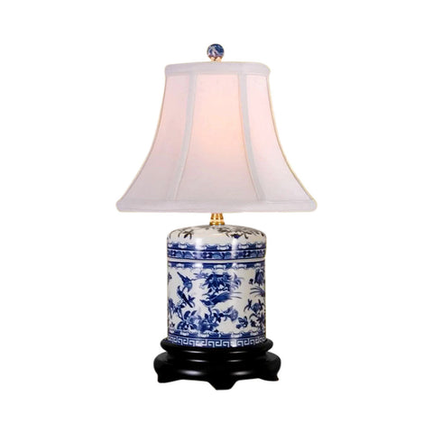 Beautiful Blue and White Porcelain Ginger Jar Floral Bird Motif Table Lamp 18""