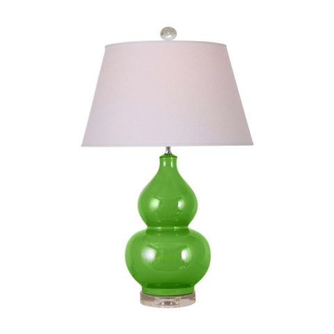 Beautiful Green Porcelain Gourd Vase Clear Base Table Lamp 27.5""