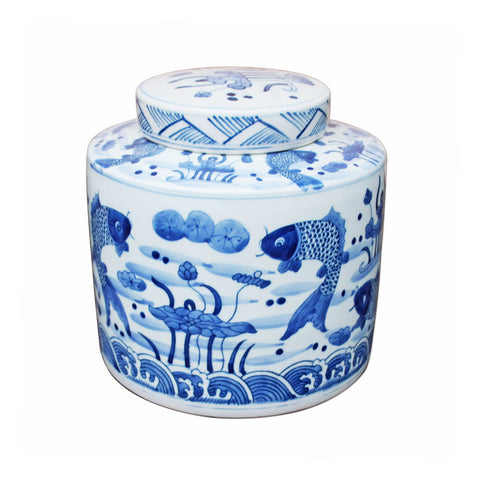 Beautiful Blue and White Fish Motif Round Ginger Jar 8""