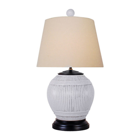 Cute White Porcelain Ridged Round Vase Table Lamp 24.5""