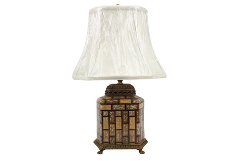 Beautiful Porcelain Ormolu Tea Caddy Table Lamp with shade and Finial 20""