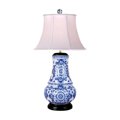 Chinese Blue and White Porcelain Round Vase Round Insignia Table Lamp 30.5""