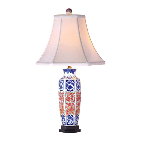 Blue and White Porcelain Floral and Red Hexagonal Vase Table Lamp 24""